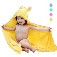 Wholesale Kids Hooded Blankets - New Cotton baby hooded bathrobe Infant kids bath towel Cartoon Baby Boys Girls receiving blanket Infant children Towel bathing