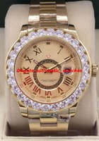 18 mens relógio de diamantes venda por atacado-Relógios de luxo 4 Estilo Maior Diamante Bisel Mens 40mm 18 K Todos os Dourados Sundust Dial Novo Relógio Automático dos homens Relógio de Pulso Novo Estilo