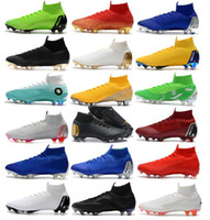 Wholesale soccer cleats online - 2018 New Mens Mercurial Superfly VI Elite Ronaldo FG CR Soccer Shoes World Cup Chaussures Football Boots High Ankle Soccer Cleat