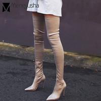 ingrosso stivali grandi gambe-Grandi dimensioni 40 stivali coscia donne ragazze sexy gamba sottile calzino elastico stivaletti donna punta a punta tacchi sottili tubo da stufa lungo botas mujer