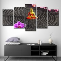 Wholesale wall art buddha painting resale online - 5PCS Home Decor Print Canvas Oil Painting Wall Art Canvas Painting Pieces Buddha Art Flower Wall Picture For Living Room Wall Decor