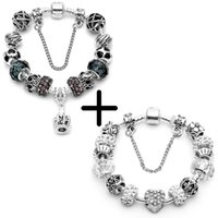 Wholesale flower pans resale online - Silver Color Charm Bracelet Pulseira With Crystal Pendant Beads Pan Bracelet For Women Jewelry Christmas Gift