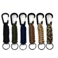 Wholesale Paracord Survival Keychain - Paracord survival keychain Outdoor Survival 7 Strand Paracord Parachute Cord Lanyard Keyring Carabiner Hook Kits keychain