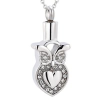 white gold owl necklace 2021 - Owl With Crystal Memorial Urn Necklace Pet Human Ashes Funeral Urn Necklace Ash Locket Cremation Jewelry