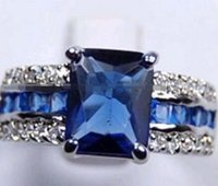 Wholesale china brass price resale online - price new Genuine blue Tourmaline Silver Ring size