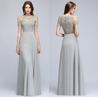 Wholesale chiffon prom dresses jewels for sale - Group buy Short Sleeves Chiffon Long Evening Dresses Sheer Tulle Lace Applique Beaded Real Image Formal Floor Length Party Prom Dresses CPS966