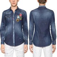 nakış rozetleri tasarla toptan satış-Genç Adam Moda Tasarım Denim Gömlek Erkekler Nakış Rozeti Patchworks Ince Spor Jean Gömlek Artı 3XL