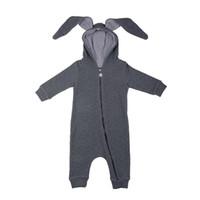 babybodysuits für den winter großhandel-Baby-Kaninchen mit Kapuze Bodysuits Ohren Jungen Mädchen Strampler Lange Kaninchenohren Reißverschluss 95% Baumwolle Langarm Frühling Herbst 3-18M