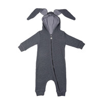 Wholesale Hooded Bodysuits - Baby Rabbit Hooded Bodysuits Ears Boys Girls Rompers Long Rabbit Ears Zipper 95% Cotton Long Sleeve Spring Autumn 3-18M