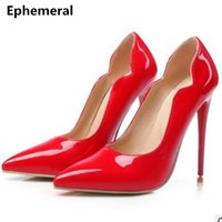 Wholesale ladies size 14 high heels - Ladies high heeled shoes sexy heel red wedding shoes woman pointed toe pumps patent leather stilettos night club size 14 15 16