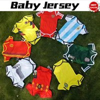 Wholesale Russia Soccer - Baby Jersey For 6 To 18 Month Baby 2018 World Cup Shirt Argebtina Spain Mexico Colombia Belgian Sweden Russia Kid Jersey 2018 Baby Shirts