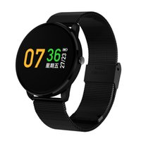 Wholesale blood metal - 2018 New Design Stainless Steel Metal Colorful Display with Heart Rate Blood Pressure Waterproof Smart Bracelet Watches