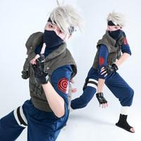 naruto kakashi hatake traje de cosplay venda por atacado-Naruto Traje Cosplay Kakashi Cosplay Hatake Kakashi Ninja Traje Uniforme + Banda + Luvas Terno Traje de Halloween para homens