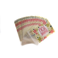 """Wholesale Wedding Thank Gift Bags - MENGXIANG 100pcs lot samll gift bag self adhesive plastic bags Flower Pattern """"Thank you"""" Cookie Wedding packaging bags"""