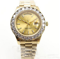 Wholesale pearl watch men online - Luxury Brand Gold President Day Date Diamonds Watch Men Stainless Mother of Pearl Dial Diamond Bezel Automatic WristWatch AAA Watches