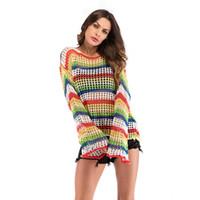 blusa a céu aberto venda por atacado-Europa e nos estados unidos mulheres finas arco íris listra malha openwork blusa outono moda cor contraste camisola solta pullover top