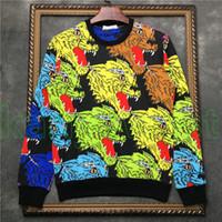 ingrosso magliette felpate del leopardo-2019 vendita calda Europa mens colore leopardo stampa felpa manica lunga moda felpe con cappuccio designer felpa maglione