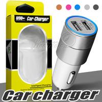 carregadores au 4s venda por atacado-Carregador de carro de metal, mais novo projeto Dual USB carregadores de carro Carregadores de viagem rápida Auto adaptador para Apple iPhone 6 Plus / 6 / 5S / 5 / 4S
