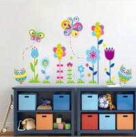 ingrosso gufi del fumetto libero-Trasporto libero del fumetto del gufo fiore floreale farfalla albero wall sticker per bambini camere vinile adesivo decalcomania home decor