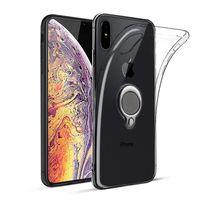 ringständerhalter für iphone großhandel-Für iPhone X XS MaX weiche, klare TPU Fall transparent Silikon Telefon Abdeckung Ring Ständer Halter Ständer für XR 8 6 7 Plus