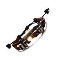 bracelet garcon achat en gros de-Euramerican tendance bracelets en cuir réglables tissés à la main corde tressée loup dent qualité alliage amour bracelet en cuir amour garçon cadeau