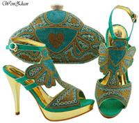 belles chaussures de mariage pour les femmes achat en gros de-Ensembles de chaussures et de sacs assortis, pour les fêtes et les mariages, couleurs aqua, femmes africaines chaussures à talons hauts et ensembles de sacs B810-23