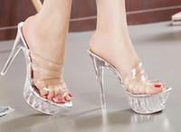 sexy mädchen pfeife großhandel-Weibliche Schuhe sexy transparente Zehen 14cm Super High Heel Kristall Hausschuhe gehen zeigen Stahlrohr Tanz Mädchen Sandalen