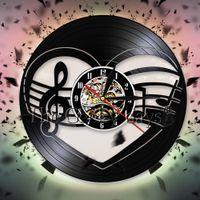 музыкальная нота виниловый рисунок оптовых-Treble Bass Clef Heart Wall Art Decor Musician Music Notes  Record Wall Clock Mancave 3D Watches Gift For Music Lover