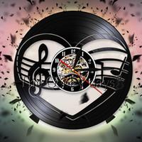 musik noten vinyl kunst großhandel-Treble Bass Clef Herz Wand Kunst Dekor Musiker Musik Notizen Vinyl Record Wanduhr Mancave 3D Uhren Geschenk für Musikliebhaber