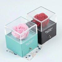 ms roses achat en gros de-Ms bleu en plastique transparent boîte quadrate de roses roses bijoux boîte cadeau de l'amour