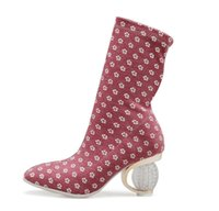 bayanlar şık çizmeler toptan satış-Orijinal Niyet Yeni Şık Kadınlar Orta Buzağı Çizmeler Moda Garip Stil Topuklu Çizmeler Bayanlar 4 Renkler Ayakkabı Kadın ABD Boyutu 5-10.5