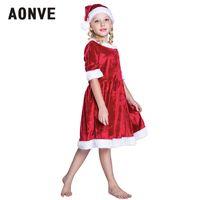 traje de cosplay vermelho venda por atacado-Aonve meninas trajes de natal kawaii fantasia role playing clothing curto dress crianças natal cosplay vermelho disfraz s m l