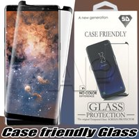 Wholesale Galaxy Note 3d Cases - For Samsung Galaxy S9 Note 8 Note8 S8 Plus S7 Edge Case Friendly 3d Curved Tempered Glass Case Version Phone Screen Protector