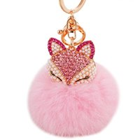 Wholesale fox fur purse - Rabbit Fur Ball Fluffy Round Ball with Bling Bling Lovely Fox Metal Keychain Keyring Car Keychains Purse Charms Handbag Pendant