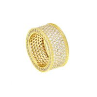 абразивное кольцо оптовых-Мужские хип-хоп ювелирные изделия bling bling Циркон кольца Европейский и американский стиль медь хип-хоп кольца аксессуары