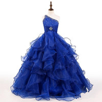 Wholesale shoulder photo - Royal Blue Girls Pageant Dress One Shoulder Crystals Beads Ruffles Organza Ball Gown Girls Birthday Party Gowns Custom Size