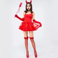 kit diablo al por mayor-Señoras Sexy Flame Red Demon Costume Halloween Devil Mini Tutu Dress Fancy Cosplay Juego de rol Juego de Ropa para Mujeres