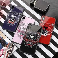 Wholesale glass tigers - 2018 For iPhone X brand printed tiger head tempered glass phone case for iphone X 7 7plus TPU + PC hard cover for iphone 8 8plus