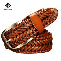 Wholesale Braided Black Belt Men - [KAITESICZI]2016 New Belt Man Fashion Mens belts luxury genuine leather braided Real Cow skin straps men Jeans Wide girdle Male