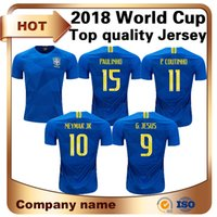 Wholesale Green Shirts For Men - 2018 Limited World Cup Brazil 10 Neymar Soccer Jersey Away 9 G.jesus 11 P.coutinho Shirt for Paulinho R.augusto Marcrlo Football Uniforms