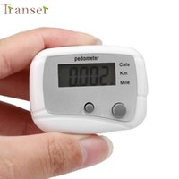 contador de calorías para trotar al por mayor-Activar el podómetro LCD Paso Caminar Correr Calorías Distancia del mostrador Fitness + Clip para cinturón DEC.7