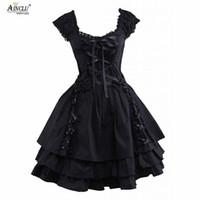siyah gotik lolita elbiseleri toptan satış-Bayan Klasik Lolita Elbise Sıcak Gotik Siyah Katmanlı Dantel-Up Pamuk Kısa Kollu Cosplay Kostümleri lolita Elbise Parti Cadılar Bayramı