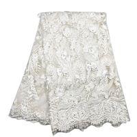 f9993b704137 Bianco Europa America Tessuto in pizzo 3D ricamato Abito da sposa africano  Fiore bello Foglia per Abito moda BL36