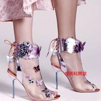 ingrosso tacco d'estate arancione-Sophia Webster Harmony Mesh 3D Butterfly Bootie Rosa / Turchese / Arancione tacco alto estivo donna sandali spuntati zapatos mujers