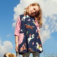 Wholesale girls dresses - Girls Unicorn Appliqued Princess Dress Kids Casual Longsleeve Cartoon Dresses Breathable Soft A line Party Dress for Kids Clothes