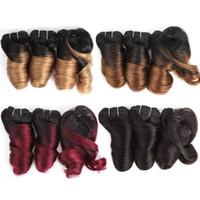 Wholesale Cheap Hair bundles Set For Full Head Romance Curl Brazilian Loose Wave Ombre Color Short Remy Human Hair Extensions virgin g Set