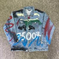 ingrosso twill twill-2018 Luxury Fashion Autunno Inverno Uomini Donne Luogo Europa Parigi Jeans Graffiti Jacket Via pelo folto Giacca di jeans