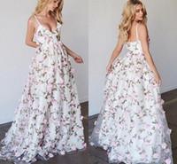 ingrosso bei vestiti lunghi sexy-2018 Beautiful Floral stampato Prom Dresses Long Spaghetti cinghie Pizzo Abito da sera lungo Foto reali Beach Summer Piano lunghezza abiti