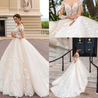 Wholesale white shirt luxury for sale – custom 2019 Elegant Luxury A line Long Sleeves Wedding Dresses Lace Appliques Backless Modern Chapel Train Bridal Gowns