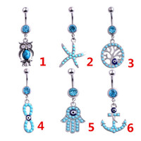 Wholesale Life tree navel buckle Navel button women girl shinny Crystal Navel ring charm Jewelry Silver Chian gift colorul Body Jewelry T1C065